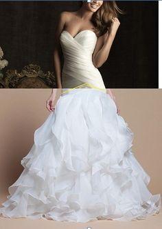 custom made sweetheart neckline satin organza floor-length wedding dress