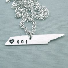 Tennessee  Necklace - Sterling Silver - I love Memphis - I love Tennessee - 901 on Etsy, $53.00