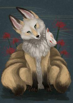 白面金毛九尾の狐 Cute Fantasy Creatures, Mythical Creatures Art, Mythological Creatures, Fox Spirit, Wolf Spirit Animal, Anime Animals, Cute Animals, Mystical Animals, Japanese Mythology