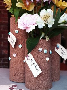 Try these DIY cork vase centerpieces for a wedding and more!