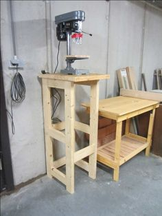 Photo of Drill Press Stand Woodworking Drill Press, Woodworking Shop Layout, Woodworking Workbench, Woodworking Workshop, Woodworking Projects Diy, Woodworking Furniture, Diy Wood Projects, Workbench Plans, Woodworking Patterns