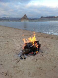 Camp fire alongside Lake Powell.