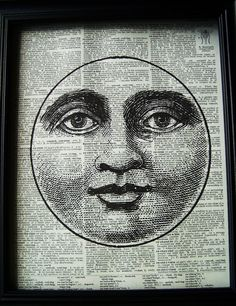 Moon face pook page print