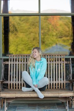 You can't go wrong with the gift of comfort! Long Sleeve Hoodie Tee - Aqua Sky