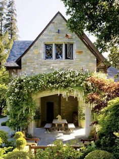 stone cottage and outdoor patio area Cottage Homes, Cottage Style, French Cottage, Outdoor Rooms, Outdoor Living, Future House, My House, Farm House, European Home Decor