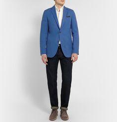 Richard JamesBlue Slim-Fit Unstructured Cotton-Twill Blazer #Blazer #Azul #Intenso