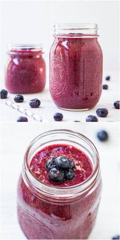 Blueberry Pie Smoothie (vegan, GF) - A healthy, no-sugar-added smoothie that tastes like a blueberry pie! So good!