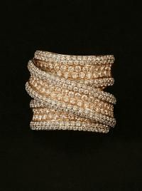 LONDON JEWELERS COLLECTION 18KT ROSE AND WHITE GOLD THREE ROW WIDE DIAMOND RING.