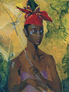 Woman with Parasol-Boscoe Holder-Art Print African American Culture, Caribbean Art, Tropical Art, Tropical Paintings, Parasol, Sale Poster, African Art, African Prints, Figurative Art