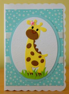Handmade Birthday Card - Marianne Collectables Giraffe Die.. For more of my cards please visit the CraftyCardStudio on Etsy.com.