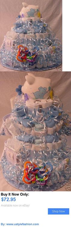Baby Diaper Cakes: My Baby Cakes And More-3 Tier Boy Diaper Cake 70 Diapers BUY IT NOW ONLY: $72.95 #ustylefashionBabyDiaperCakes OR #ustylefashion