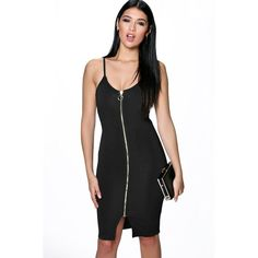 Boohoo Night Helen Strappy Pull Zip Front Bodycon Dress ($30) ❤ liked on Polyvore featuring dresses, black, party dresses, bodycon maxi dress, black dress, black tuxedo and sequin cocktail dresses