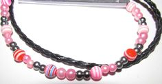 Black Leather Bracelet with light Pink and Grey beads and small Rainbow beads Black Leather Bracelet, Pink Grey, Beaded Necklace, Rainbow, Beads, Bracelets, Stuff To Buy, Jewelry, Design