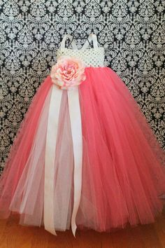 "This would make an adorable flower girl dress.in ivory of course. ""Coral Tutu Dress many options available customize by FrostingShop"""