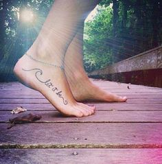 Found my next tattoo!  Not on my foot though, and a different phrase.   Maybe add some blue and white to the wave