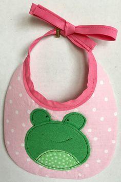 Baby Bibs-Baby Girl-Girl Baby Bib-Frog Baby Bib-Animal Baby Bib-Drool Bib-Dribble Bib-Baby Shower Gift-Baby Gift-Green and pink bib-Baby Gir