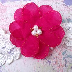 Tropical Pink Hair Flower - perfect for bridesmaids at a beach wedding.