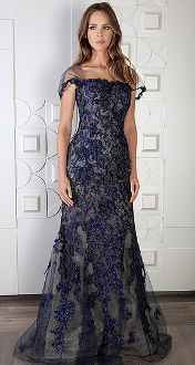 Rene Ruiz Embroidered Evening Gown L1600