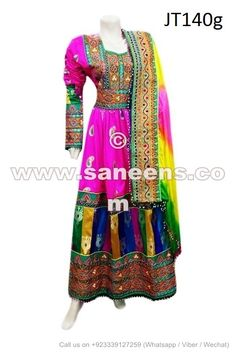 Afghan Fashion Long Maxi Kuchi Wedding Apparel Tribal Artwork Floor Length Gown - Saneens Online Store