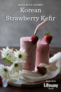 Strawberries, maple syrup, and strawberry whole milk kefir, oh my! You are three ingredients away from making our probiotic version of Korean strawberry milk. Healthy Food Choices, Healthy Recipes, Smoothie Recipes, Smoothies, Cut Strawberries, Farmers Cheese, Strawberry Milk, Kefir, Food Allergies