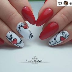 Manicure Nail Designs, Valentine's Day Nail Designs, French Manicure Nails, Short Nail Designs, Pretty Nail Art, Cute Nail Art, Cute Nails, Nail Art Coeur, Em Nails