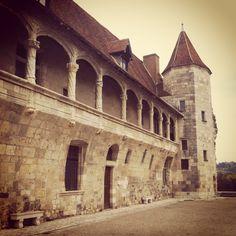 Stone facade of Chateau du Henri IV, Nerac  Little French Retreat https://www.facebook.com/littlefrenchretreat?ref=hl