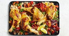 This easy one-pan tray bake combines chicken marylands, feta, couscous, tomatoes and peppers for a truly flavour-packed dinner.