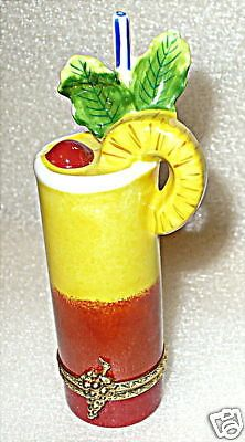 LIMOGES BOX - TROPICAL DRINK - TEQUILA SUNRISE COCKTAIL - PINEAPPLE & CHERRY #HingedTrinketBox
