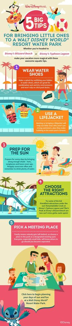 Great tips for visiting the Disney waterparks with little ones.  #blizzardbeach #typhoon lagoon Let us help you plan a trip to Disney by requesting a quote at http://destinationsinflorida.com/pinterest