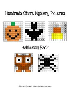 Hundreds Chart Mystery Pictures - Halloween Pack - 5 fun printable worksheets for students to practice place value and recognizing colors and numbers on a hundreds chart. Use the key to color in the boxes and reveal a hidden picture! Pumpkin, bat, candy corn, owl, and spider.