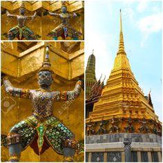 El Templo del Buda Esmeralda o Wat Phra Kaew en Bangkok, Tailandia.