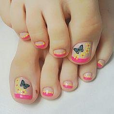 60 easy pedicure ideas in 2019 030 Pedicure Designs, Toe Nail Designs, Pedicure Ideas, Pretty Toes, Pretty Nails, Summer Toe Designs, Feet Nail Design, Natural Gel Nails, Butterfly Nail