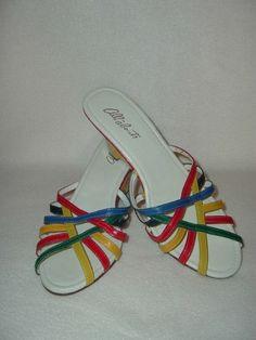 Vintage 70s Wedge Shoes / NOS Colorblock Sandals / by ClubVintage. $18.00, via Etsy.
