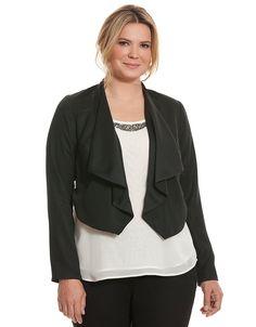 fce16d96957 Plus Size Cropped Dressy Jacket by Lane Bryant