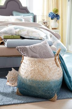 You'll find a lot of great ways to use Pier 1's Sakiya Ombre Basket. Laundry? Yes. Blanket storage? Definitely. Magazines? For sure. It's generously sized, handsome and ready to meet all of your imagination's expectations.