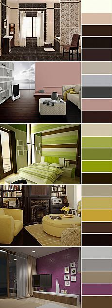 Мебель, обои или шторы шоколадного цвета в интерьере станут прекрасными акцентами в любом стиле интерьера