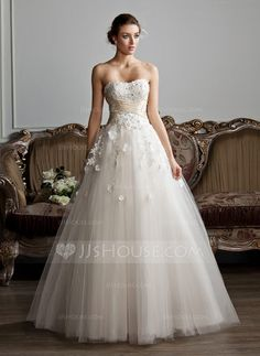 Ball-Gown Sweetheart Floor-Length Tulle Wedding Dress With Ruffle Sash Beading Appliques Lace Flower(s) (002013803) - JJsHouse