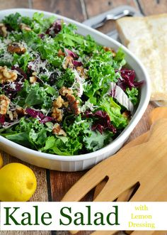 Kale Salad Recipe-tossed with currants, radicchio, walnuts and a lemon dressing… Kale Salad Recipes, Healthy Prawn Recipes, Healthy Food List, Healthy Side Dishes, Soup Recipes, Kale Salads, Healthy Eating, Spicy Recipes, Currant Recipes