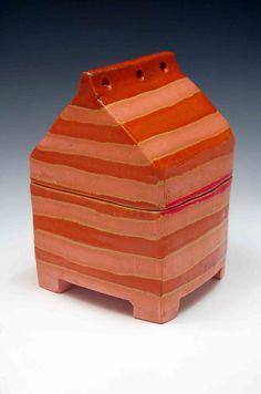 Orange  house - Box - ceramic - Brian R Jones