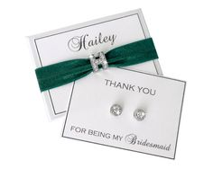 Planning a Hunter Green Wedding? Why not give your bridal party a gift that matches your wedding! Shop for wedding jewelry at www.nadegegifts.etsy.com and pick your hair tie color to match your wedding. All wedding jewelry hangs from a personalized card! Use the coupon code NADEGE10 to receive a 10% discount! #weddings