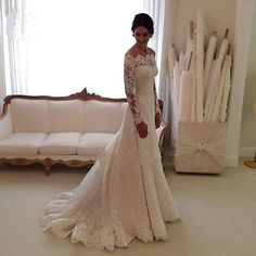 New Elegant Lace Wedding Dresses White Ivory Off The Shoulder Garden Bride Gown