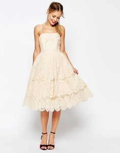 Image 1 of ASOS SALON Tiered Lace Midi Prom Dress