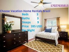 Plan an amazing holiday with Vacation Home Rentals, at economical cost, and a comfortable stay, in Brazil. We bring you an astonishing house with 3 beds, 3 baths and 9 sl.