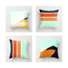 Modern Throw Pillow Cover, Home/Office/Nursery Decor, Black/Orange/Aqua/Mint Color Palette, Africa/Sand Dune Photography
