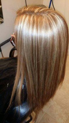 Lots of blonde highlights, light brown, brunette, thin highlights, light blonde, chunky highlights, long hair #laurenkirschner