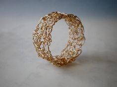 Crochet gold lace ring, Crochet 14K gold filled wire, crochet ring