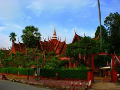 Beautiful red National Museum, Phnom Penh, Cambodia