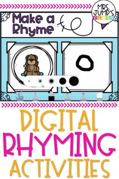 Digital activities can be a great way for students to practice early phonological skills in kindergarten. These digital rhyming activities include several different fun rhyming games that students can complete in order to build these early literacy skills.