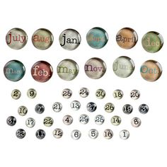 Forty-three glass month and date magnets.    Product: 43 Magnets    Construction Material: Glass  Color: