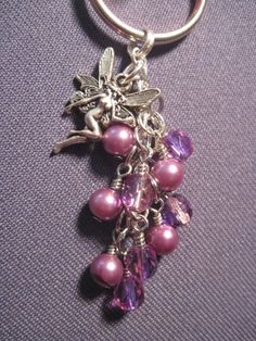 Purple Pearl and Czech Fire Polished Glass Bead Key Chain by FoxyFundanglesByCori, $5.00